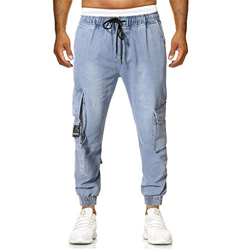 ✿HebeTop✿ Summer Men's Multi-Pocket Casual Stitching Trousers, Leisure Plaid Five-Point Pants Blue