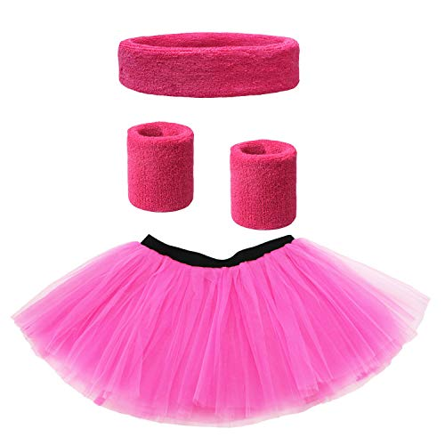Women 80s Neon Tutu with Sweatbands for Dance and Fitness Look