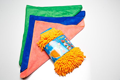 Best Premium Ultra Soft Microfiber 4pc Car Wash Set. Includes Hand Washing Mitt, 3 Super Absorbent Microfiber Drying / Polishing Towel / Rag. Pick Color Glove & Towels / Rags Come Assorted. (Orange)