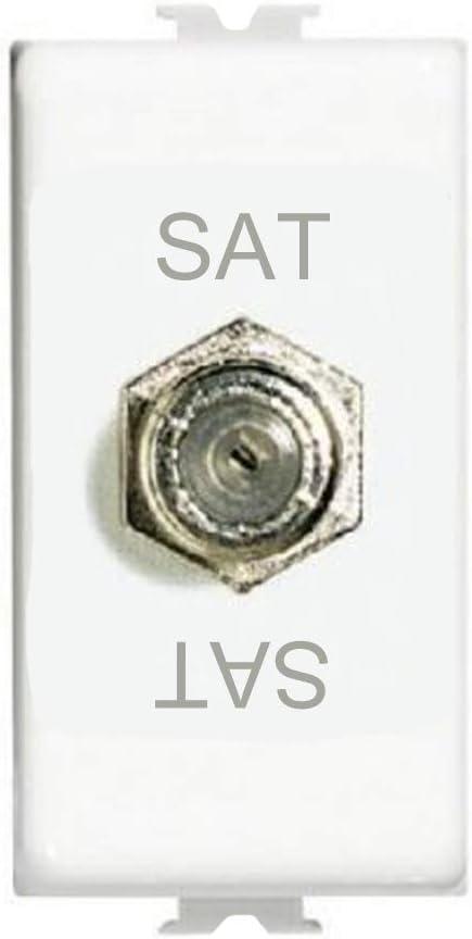 Modulo TV SAT connettore Tipo F C2216 Compatibile BTicino matix Antenna Segnale Televisione connettore coassiale Bianco plastica Lega Metallica 75 Ohm 1 Pezzo - 1 Pezzo