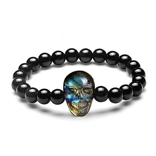 - NATURSTON Men's Obsidian Beaded Bracelet with Carving Skull Pendant Natural Labradorite Mens Bangle Charm Jewelry (Multicolor,7.3'')