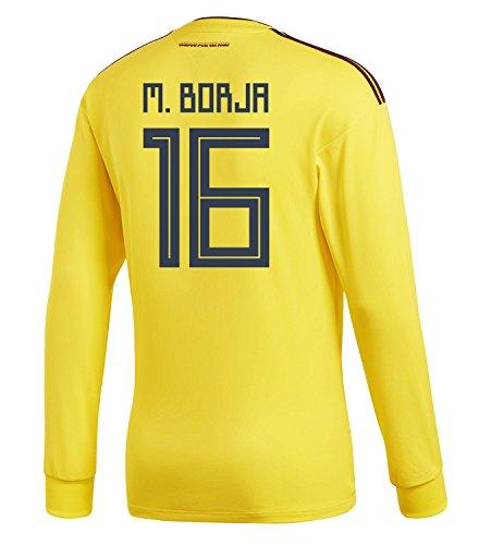 スキム怪しい影響力のあるadidas Mens M. BORJA #16 Colombia Home Long Sleeve Soccer Jersey World Cup 2018 /サッカー ユニフォーム ボルハ 背番号 16 コロンビア ホーム用 長袖