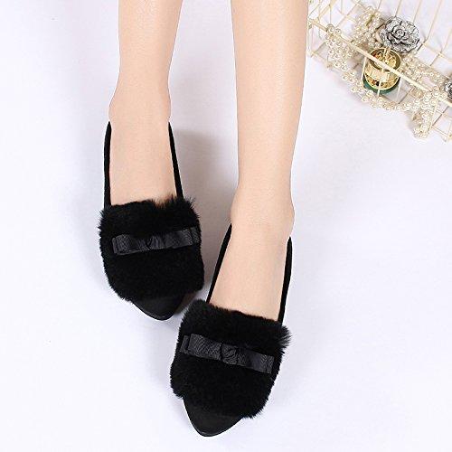 Cálido Todo En Soja De Zapatos Planos Negro Zapato GAOLIM Invierno Zapatos Uno Zapatos Femenino Negro Algodón 1w4qzxt