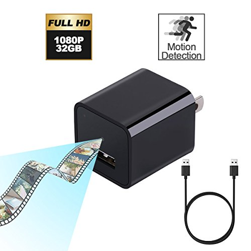 32G Acetek Hidden Cameras Charger Adapter Motion Activated, 1080P HD Spy Camera USB Wall Charger with 32G Internal Memory, Monitor Home Activity