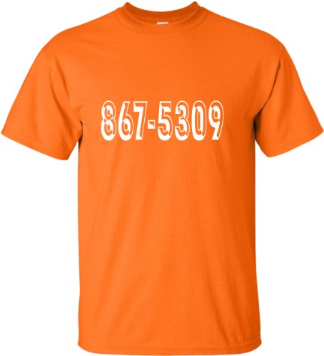 Go All Out Screenprinting XX-Large Orange Adult 8675309 Funny Retro 80''s T-Shirt