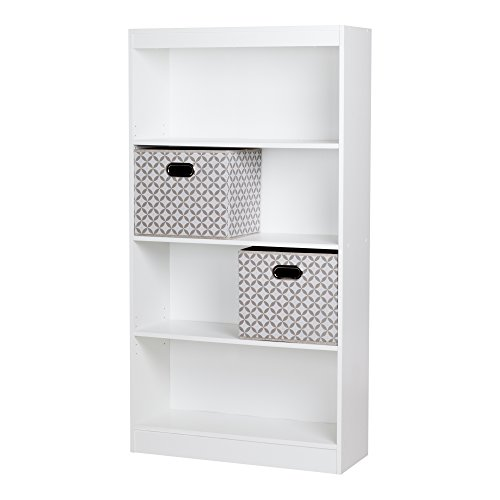 South Shore Axess 4-Shelf Bookcase with 2 Fabric Storage Baskets, Pure White (White Bookcase With Baskets)