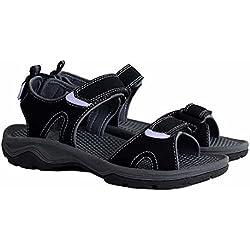 Khombu Ladies' River Sandals for Women - Walking Hiking Casual Summer Shoes (7, Black)