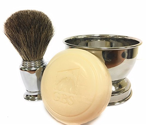 GBS Men's Wet Shaving Set - Chrome Pure Badger Shave Brush, Stainless Soap Bowl, Driftwood Natural Shave Soap Compliments Any Shaving Razor & Barber Tools. Wide Cup Produces Rich Lather - Great Gift