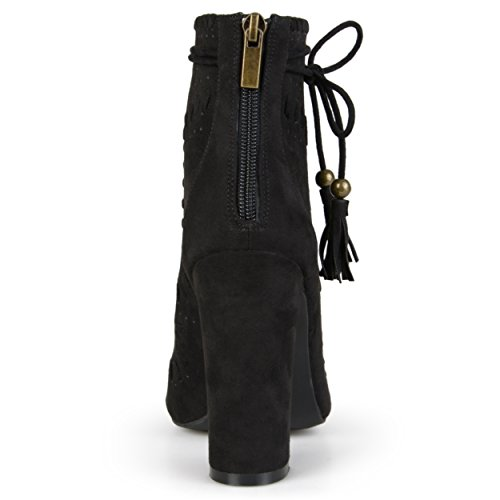 Boots Womens Faux High Brinley Heel Black Co Toe Tasseled Suede Peep O6wC5znxqX