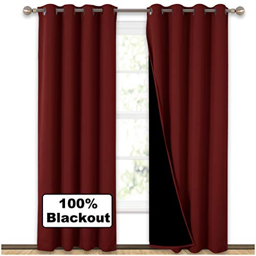 NICETOWN 100% Blackout Curtains with Black Liner Backing, Thermal Insulated Curtains for Living Room, Noise Reducing Drapes for Christmas, Burgundy Red, 52' Wide x 84' Long Per Panel, Set of 2 Panels
