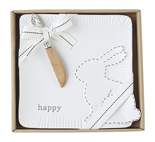 Mud Pie Ceramic Easter Bunny Cheese Plate Set, White