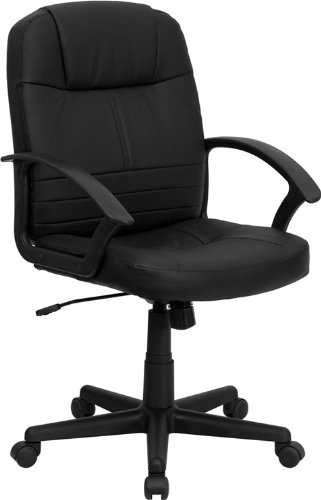 FLASH Furniture Mid-Back Black Leather Executive Swivel C...
