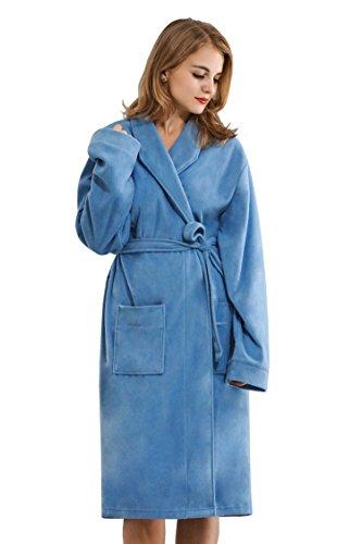 Light Blue Fleece (Home Way Women's Fleece Nightwear Soft Robe Light Blue Size M)