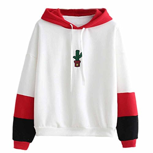 Smiling Face Cactus Printing Hoodie, Leyorie Women Patchwork Long Sleeve Sweatshirt Hooded Pullover Tops Blouse (Red, (Smiling Face Printing)