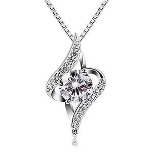 B.Catcher Mujer Collar Plata de Ley 925 con circón ''Eres el amor de mi vida'' con Para Regalo San Valentín Originales Cadena 45cm Longitud