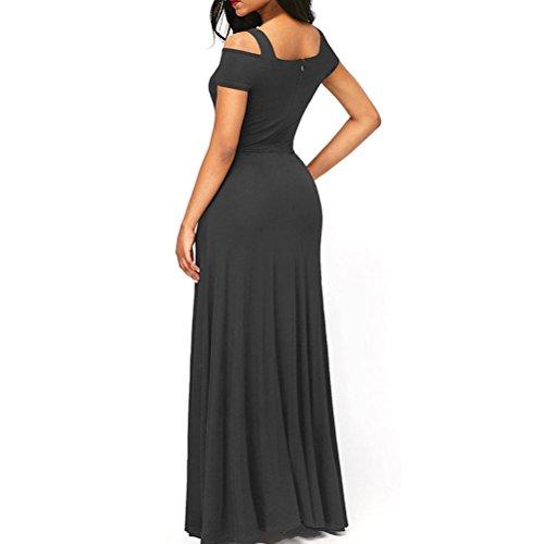 A Partido del Para Cruzadas Noche Color Collar Vestido Elegante de Mujeres Largos Correas Vestidos sólido Oq67wZp