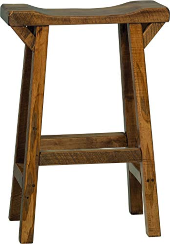 Amish Maple Bar Stool - Rustic Wormy Maple Western Twist Saddle Stool - Bar Height - Provincial Stain - Amish Made in USA