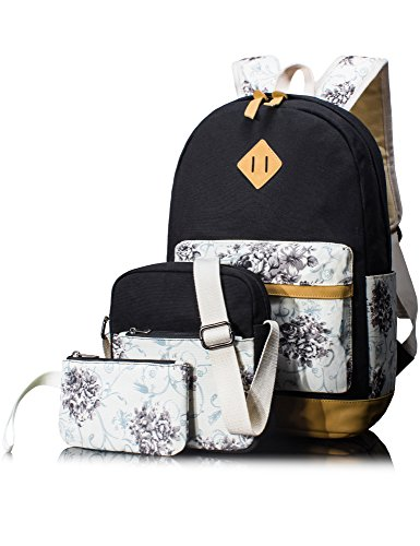 - Leaper Backpack for Girls Floral College Bookbags Shoulder Bag Pencil Cases