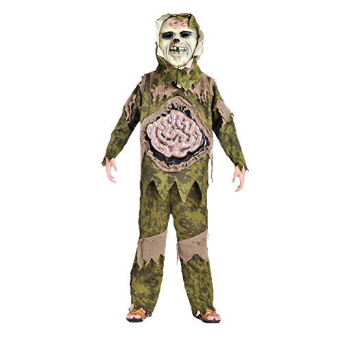 Per Scary Skeleton Zombie Costume for Hallowmas&Halloween Party Large Intestine Ghost Gown with Mask for Children Kids(S:110-120cm) (Zombie Schoolgirl Halloween Makeup)