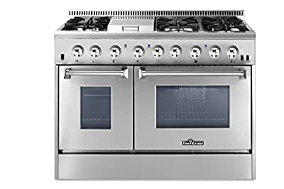 "Thorkitchen HRD4803U 48"" Freestanding Professional Style Dual Fuel Range with 4.2 and 2.5 cu. ft. Double Oven, 6 Burners, Griddle, Convection Fan, Stainless Steel"