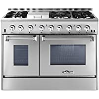 Thorkitchen HRD4803U 48 Freestanding Professional Style Dual Fuel Range with 4.2 and 2.5 cu. ft. Double Oven, 6 Burners, Griddle, Convection Fan, Stainless Steel