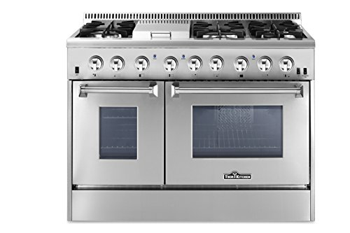 "Price comparison product image Thorkitchen HRD4803U 48"" Freestanding Professional Style Dual Fuel Range with 4.2 and 2.5 cu. ft. Double Oven,  6 Burners,  Griddle,  Convection Fan,  Stainless Steel"
