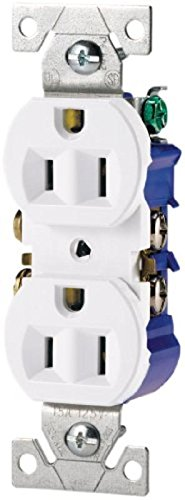 Cooper Wiring Devices 270W Boxsp L Standard Grade Straight Blade Duplex Receptacle With 15 Amp  125 Volt  5 15 Nema Rating  White