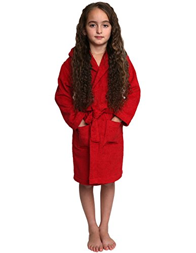 TowelSelections Big Girls Robe, Kids Hooded Cotton Terry Bathrobe Cover-up Size 8 (Child Red Hooded Robe)