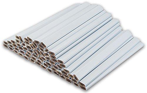 White Carpenter Pencils - (72) Count Bulk Box - Ten Color Choices, 2 Lead