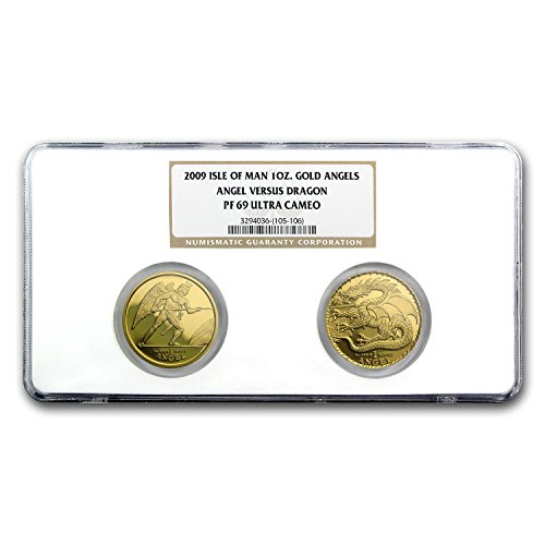 UK 2009 Isle of Man 2-Coin Gold Angel vs Dragon Set PF-69 NGC PR-69 (Dragon Set Coin Gold)