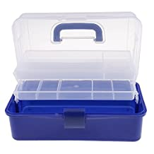 MonkeyJack Plastic 3 Tiers Storage Organizer Compartment Tool Container Storage Box Case Nail Polish Jewelry Arts & Craft Holder w/ Handle - Blue