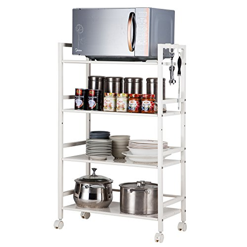 - SINGAYE 4-Tier Storage Shelves Kitchen Storage Cart with Easy Moving Flexible Wheels,Adjustable Microwave Storage Shelf Mesh Wire Rolling Cart Multifunction Utility Cart on Square Tube,White