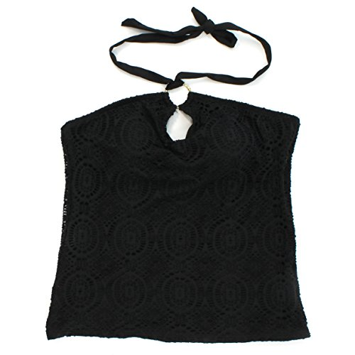 Ring Top Tankini Halter (Apt. 9 Black Crochet Ring Halter Tankini Top for Women (10))
