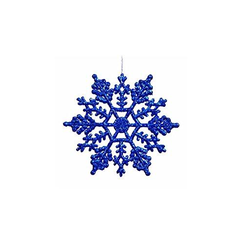 "Northlight Club Pack of 24 Lavish Blue Glitter Snowflake Christmas Ornaments 4"""