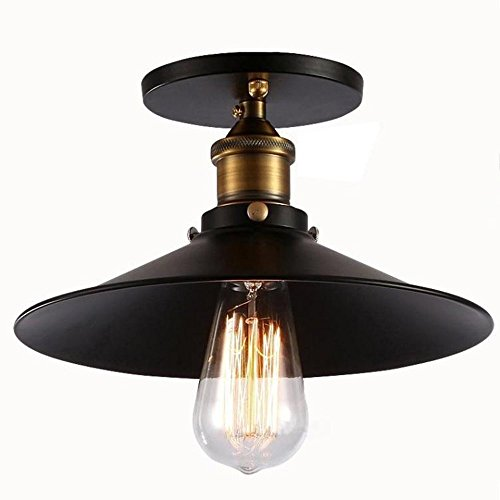 Injuicy Lighting Edison Bulbs Vintage Industrial Iron Metal Semi Flush Mount Retro Antique Mini Brass E27 Led Socket Ceiling Lamp Light Fixtures Shade 1-Light Cafe Bar Dining Living Room Black (Led Mini Flush Mount Outdoor)