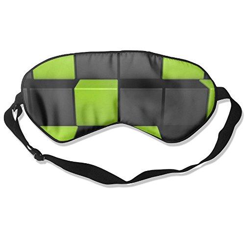 Burlingames Black Green Cube Halloween Mulberry Silk Cute Eye Shade Eyepatch Eye Masks Sleeping Shade