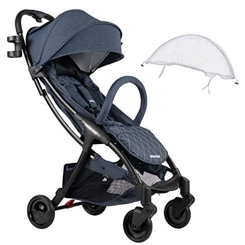 Compact Stroller 2020 Ultra Lightweight Baby Stroller + Universal Mosquito Net Blue Jeans & White