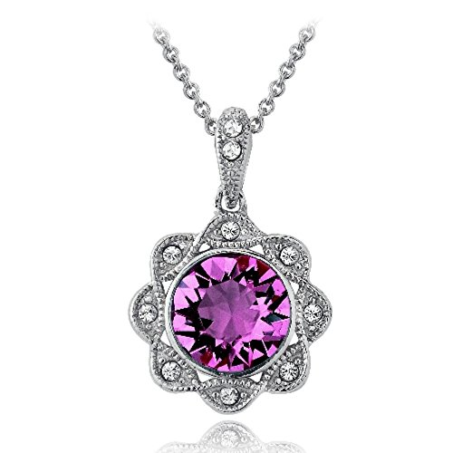 Bria Lou Silver Flashed Purple & Clear Halo Flower Pendant Necklace Made with Swarovski Crystals, 18
