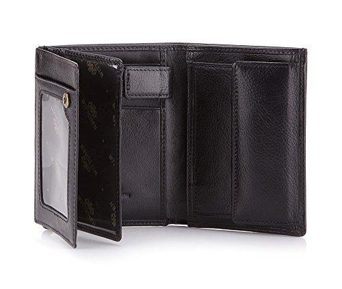 Wittchen Brieftasche | Farbe: Schwarz| Material: Narbenleder| Größe: 9,5x13 CM, | Orientierung: Vertikal | Kollektion: Italy| 21-1-265-1