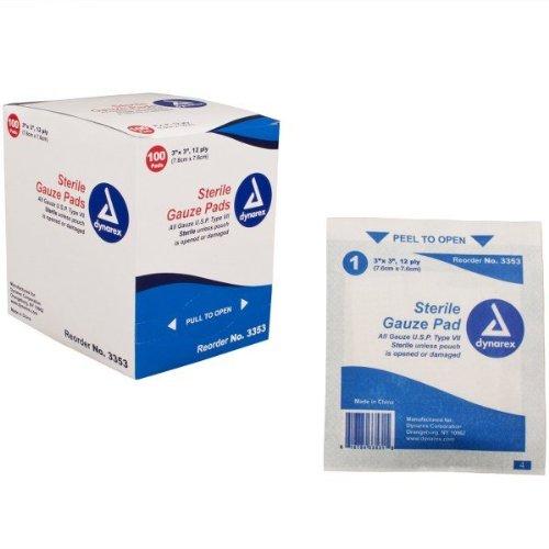 Dynarex 3353 Gauze Pad Sterile 1's 3x3 12 Ply 24/100 (2400/Case) by Dynarex