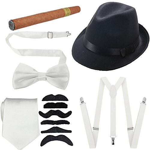 1920s Mens Accessories Hard Felt Wide Brim Panama Hat, Y-Back Elastic Suspenders & Pre Tied Bow Tie, Gangster Tie,Toy Cigar & Fake Mustache (OneSize, White)]()