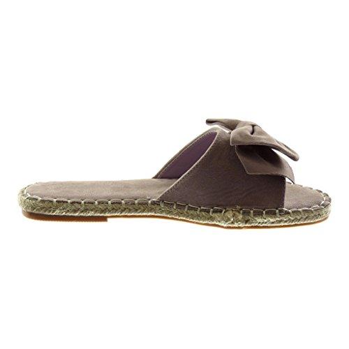 Angkorly Damen Schuhe Sandalen Mule - Slip-On - Knoten - Fertig Steppnähte - Seil Blockabsatz 1.5 cm Lila