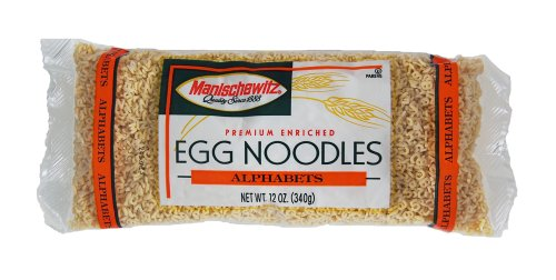 MANISCHEWITZ Alphabets Egg Noodles, 12-Ounce Bags (Pack of 12) (Egg Alphabet)