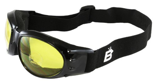 Yellow Eyewear (Birdz Eyewear Eagle Motorcycle Goggles (Black Frame/Yellow Lens))