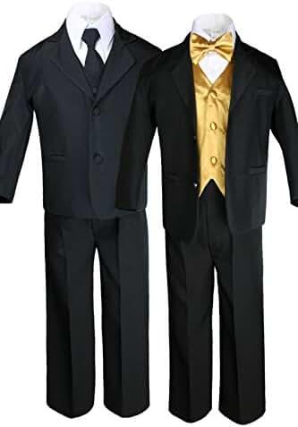 7pc Boys Black Suit with Satin Gold Vest Set (S-20) (S:(0-6 months))