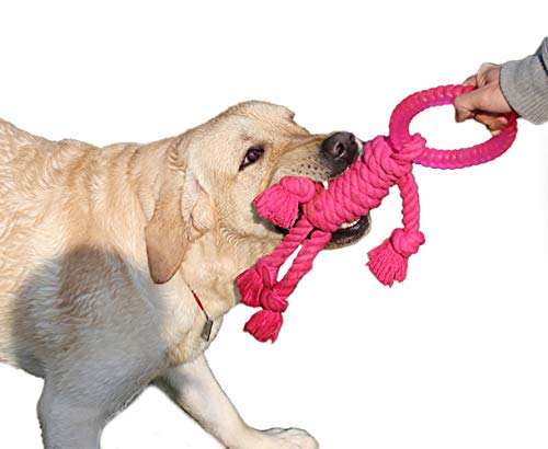 Dog Rope Toys Indestructible for Aggressive Chewers & Tooth Cleaning Dog Chew Toys - Best for Tug of War, Perfect to Relieve Pets Boredom Interactive Training Toys for Medium to Large Dogs (Red)