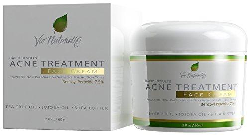 Crème de traitement de l'acné - topique Anti acné médicaments - hamamélis, feuille d'arbre de thé, huile de Jojoba, huile d'amande, le beurre de karité avec Benzoyl peroxyde 7,5 % - 60ml/2 oz