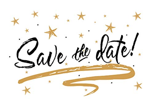 Gold Stars Save The Date Postcards - 6in. X 4in. (100) ()