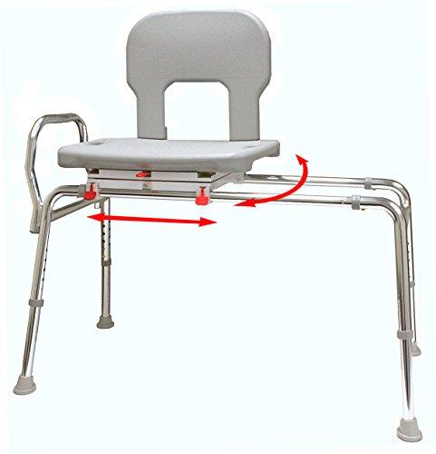 Bariatric Swivel Sliding Bath Transfer Bench (55662) - Regular (Base Length: 39' - 39.5') - Heavy-Duty Shower Bathtub Chair - Eagle Health Supplies