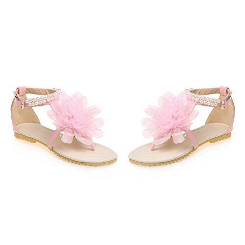 Toe Materials Heels WeenFashion Sandals Blend Low 34 Open Women's Solid Pink wqX10x46X